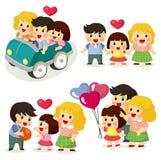 Jogo do ícone da família dos desenhos animados Imagem de Stock Royalty Free
