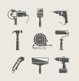 Jogo do ícone da ferramenta do edifício Fotografia de Stock