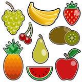 Jogo do ícone da fruta Fotografia de Stock