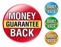 Jogo do ícone da garantia da parte traseira do dinheiro Foto de Stock Royalty Free