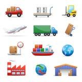 Jogo do ícone da indústria & da logística Fotos de Stock Royalty Free