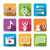 Jogo do ícone da música Incluir: Ajuste, gravando o microfone, equalizador, nota da música, condutor, voz sobre, filme, propagand ilustração royalty free
