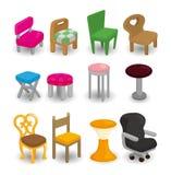 Jogo do ícone da mobília da cadeira dos desenhos animados Imagem de Stock Royalty Free