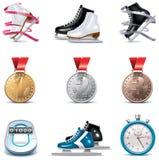 Jogo do ícone da patinagem de gelo do vetor Fotografia de Stock