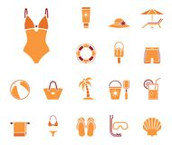 Jogo do ícone da praia ilustração royalty free