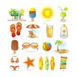 Jogo do ícone da praia ilustração stock