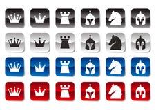 Jogo do ícone da xadrez Imagem de Stock
