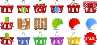 Jogo do ícone das cestas de compra Foto de Stock