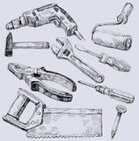 Jogo do ícone das ferramentas de funcionamento Fotografia de Stock Royalty Free