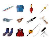 Jogo do ícone das ferramentas do equipamento de pesca dos desenhos animados, Fotografia de Stock Royalty Free