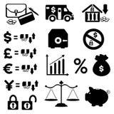 Jogo do ícone das finanças ilustração stock