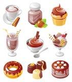 Jogo do ícone de Chokolate Fotos de Stock