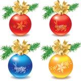 Jogo do ícone de decorações das esferas do Natal Foto de Stock Royalty Free