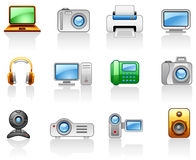 Jogo do ícone de Electronics_ Computers_ Multimedia_ Imagem de Stock