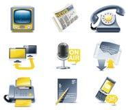 Jogo do ícone de uma comunicação do vetor. Media ilustração royalty free