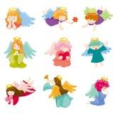 Jogo do ícone do anjo dos desenhos animados Fotografia de Stock Royalty Free
