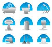 Jogo do ícone do banheiro e do toalete Fotografia de Stock