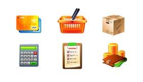 Jogo do ícone do comércio electrónico Fotografia de Stock