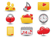 Jogo do ícone do coração Fotografia de Stock