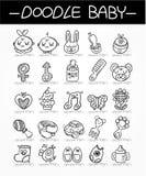 Jogo do ícone do doodle do bebê dos desenhos animados Fotografia de Stock Royalty Free