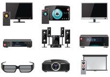 Jogo do ícone do equipamento video do vetor Imagens de Stock