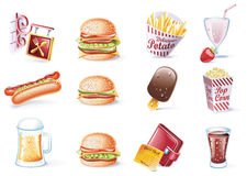 Jogo do ícone do estilo dos desenhos animados do vetor. Parte 22. Fast food Imagem de Stock Royalty Free
