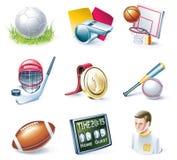 Jogo do ícone do estilo dos desenhos animados do vetor. Parte 33. Esporte ilustração stock