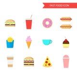 Jogo do ícone do fast food Vetor liso do projeto Imagens de Stock