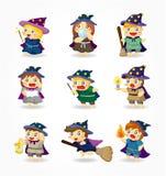 Jogo do ícone do feiticeiro e da bruxa dos desenhos animados ilustração royalty free