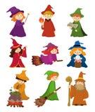 Jogo do ícone do feiticeiro e da bruxa dos desenhos animados ilustração stock