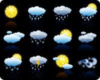 Jogo do ícone do fundo de Weather_black Imagem de Stock Royalty Free