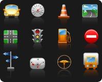 Jogo do ícone do fundo do transporte e do Road_black Imagem de Stock Royalty Free