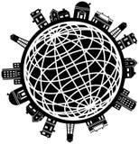 Jogo do ícone do globo do edifício Imagem de Stock Royalty Free