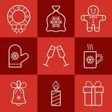 Jogo do ícone do Natal Fotografia de Stock