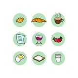 Jogo do ícone do pequeno almoço Imagem de Stock