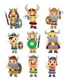 Jogo do ícone do pirata de Viquingue dos desenhos animados Fotos de Stock