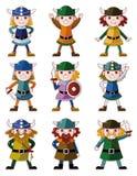 Jogo do ícone do pirata de Viquingue dos desenhos animados Fotos de Stock Royalty Free