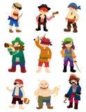 Jogo do ícone do pirata dos desenhos animados Fotografia de Stock