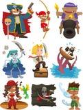 Jogo do ícone do pirata dos desenhos animados Fotos de Stock