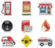 Jogo do ícone do posto de gasolina do vetor Foto de Stock