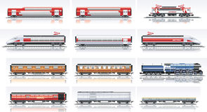 Jogo do ícone do transporte da estrada de ferro do vetor Imagem de Stock