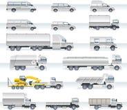 Jogo do ícone do transporte do vetor. Caminhões e camionetes Imagens de Stock Royalty Free