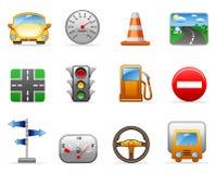 Jogo do ícone do transporte e da estrada Fotografia de Stock Royalty Free