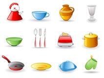 Jogo do ícone do utensílio da cozinha Fotos de Stock Royalty Free