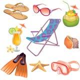 Jogo do ícone do verão ilustração stock