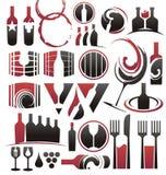 Jogo do ícone do vinho Imagens de Stock Royalty Free