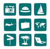 Jogo do ícone dos artigos do turista Imagens de Stock Royalty Free