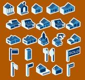 Jogo do ícone dos bens imobiliários ilustração do vetor