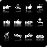 Jogo do ícone dos elementos da mão Foto de Stock Royalty Free