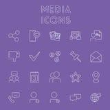 Jogo do ícone dos media Imagens de Stock